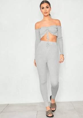 c7e5af80c7 Missy Empire Missyempire Suki Grey Ribbed Bardot Crop Loungewear Set