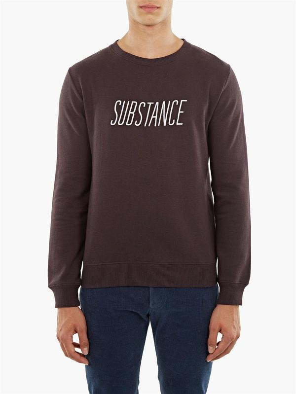 A.P.C. Burgundy Substance Logo Round-Neck Sweatshirt