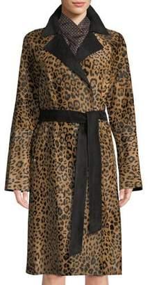 Lafayette 148 New York Kalena Leopard-Print Calf Hair Coat w/ Suede Combo