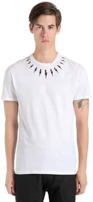 Neil Barrett Bolts Printed Cotton Jersey T-Shirt