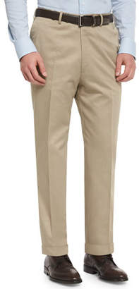 Brioni Phi Flat-Front Cotton-Cashmere Trousers, Tan