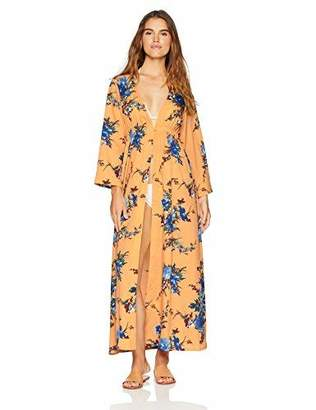 Oasis Wild Beachwear Women's Long Sleeves Floral Printed Maxi Dress with Elastic On Waistline and Slit