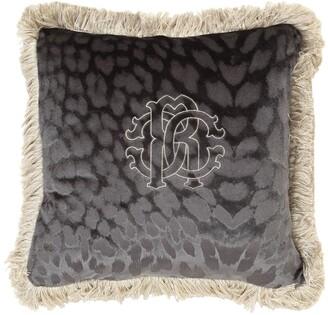 Roberto Cavalli Monogram Velvet Square Accent Pillow