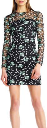 Aidan Mattox Long-Sleeve Lace Dress