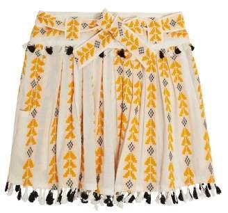 Dodo Bar Or Ariana Woven Cotton Wrap Mini Skirt - Womens - Yellow Multi