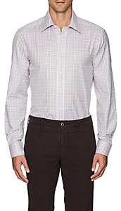 Luciano Barbera Men's Checked Cotton Shirt - White Pat.