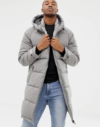 Bershka puffer jacket in longer length in gray