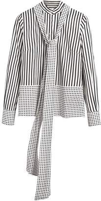 Burberry Spot and Stripe Print Cotton Tie-neck Shirt