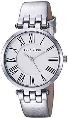 Anne Klein Women's AK/2619SVSI Metallic Leather-Strap Watch