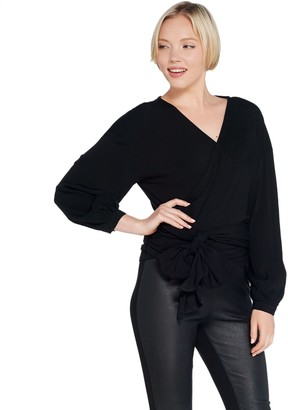 Du Jour Drop Shoulder Long-Sleeve Wrap Front Knit Top
