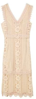 MANGO Blond-lace appliquA dress