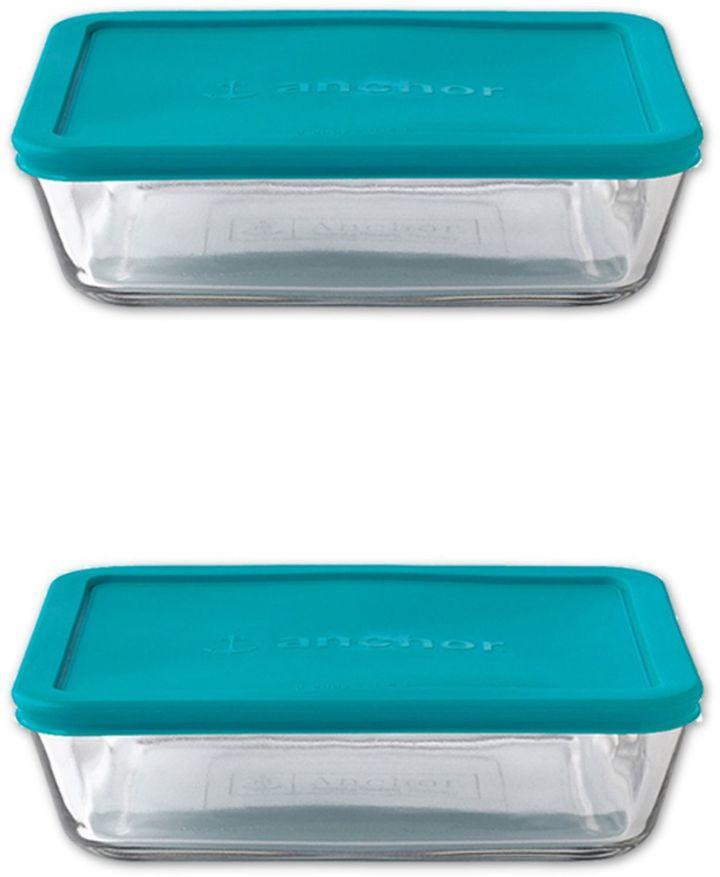 Anchor Hocking 4-Piece 6-Cup Rectangle Basic Food Storage Set