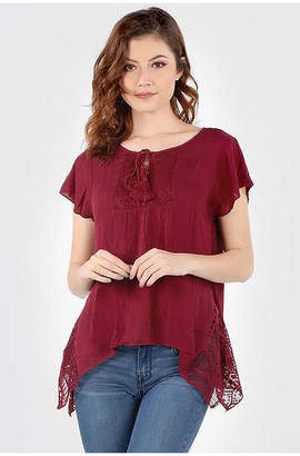 Asstd National Brand Crochet Flared Hem Tunic
