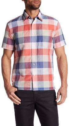 Perry Ellis Short Sleeve Plaid Regular Fit Shirt
