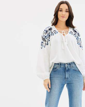 DECJUBA Misa Embroidered Lace Up Top