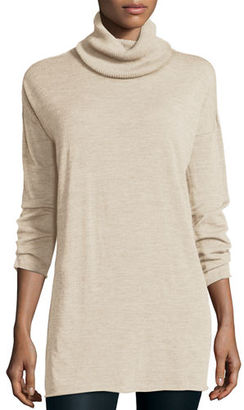 Eileen Fisher Fisher Project Seamless Featherweight Turtleneck Tunic, Maple Oat $358 thestylecure.com