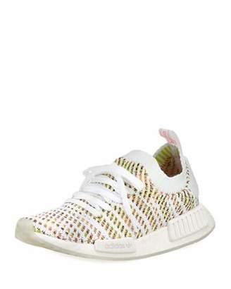 adidas NMD R1 Primeknit Sneakers, White/Yellow/Pink