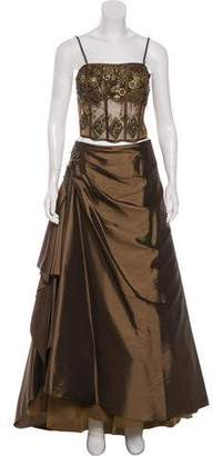 Alberto Makali Embellished Two-Piece Gown