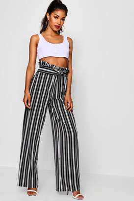 d17a76fd716f boohoo Crepe Stripe Paperbag Wide Leg Trouser