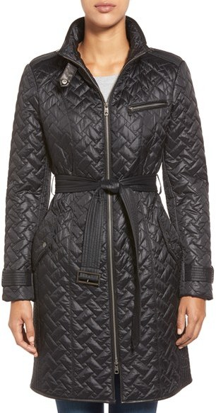 Cole Haan  Women's Cole Haan Belted Quilted Coat