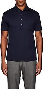 Luciano Barbera Men's Striped Cotton Polo Shirt - Navy