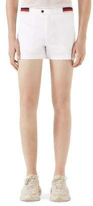 Gucci Jersey Swim Trunks w/ Web and Piping Details