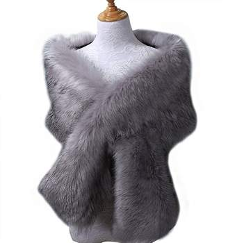 Snowskite Women's Fake Faux Fur Scarf Wrap Neck Collar Wrap Winter Warm Shawl