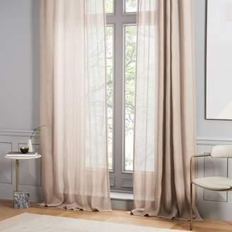 west elm Sheer Belgian Flax Linen Curtain - Dusty Blush