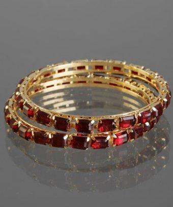 Chamak by Priya Kakkar set of 2 - dark red crystal studded bangles