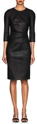 Narciso Rodriguez Women's Ruched Leather Long-Sleeve Dress - Black