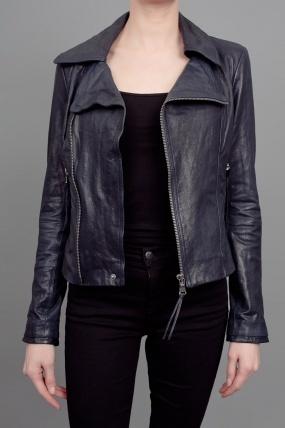 June Fitted Moto Leather Jacket Indigo