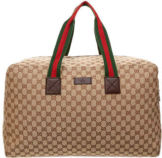 Gucci Brown Gg Supreme Canvas & Leather Carry-On Duffle