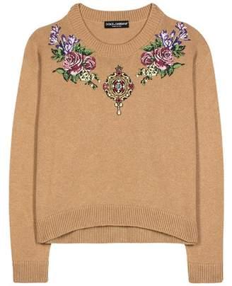 Dolce & Gabbana Crystal-embellished cashmere sweater