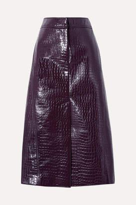 Tibi Croc-effect Faux Patent-leather Midi Skirt - Grape