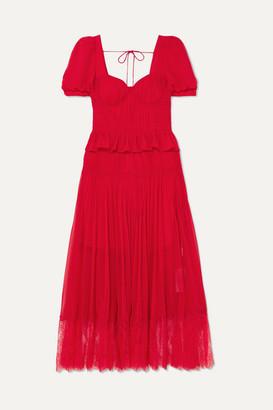 Self-Portrait Lace-trimmed Pleated Chiffon Midi Dress - Red