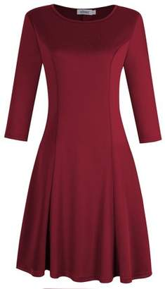 Glowsol MISSKY Women Casual Scoop Neck Long Sleeve Slim Solid Color Ruched Swing Dress Wine XL