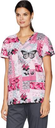 24|7 Comfort Scrubs Women's Butterfly Patches V Neck Scrub Top Small