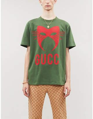 Gucci Manifesto mask-print cotton-jersey T-shirt