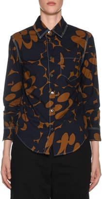 Marni 3/4-Sleeve Floral Print Polo Shirt