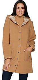 Denim & Co. Sherpa Bonded w/ Printed FleeceHooded Coat