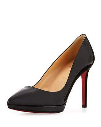 Christian Louboutin Pigalle Plato Patent Red Sole Pump, Black $795 thestylecure.com