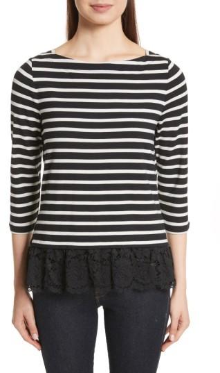 Women's Kate Spade Lace Flounce Stripe Top