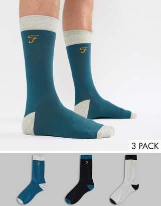 Farah Derby 3 Pack Heel and Toe Socks