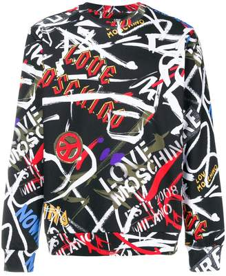 Love Moschino logo graffiti sweatshirt