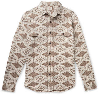 Faherty Brushed Cotton-Jacquard Shirt - Men - Cream