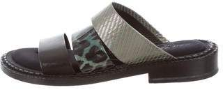 Robert Clergerie Leather Slide Sandals