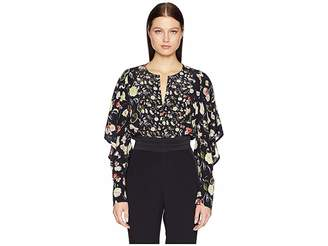 Jason Wu GREY Painterly Floral Large Print Crew Short Ruffle Sleeve Top
