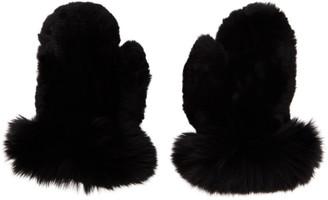 Yves Salomon Black Rex Rabbit and Fox Fur Mittens