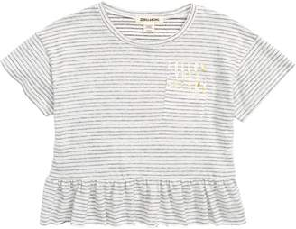 Billabong Pinstripe Ruffle Pocket Tee