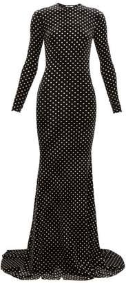 Balenciaga Polka Dot Velvet Maxi Dress - Womens - Black White